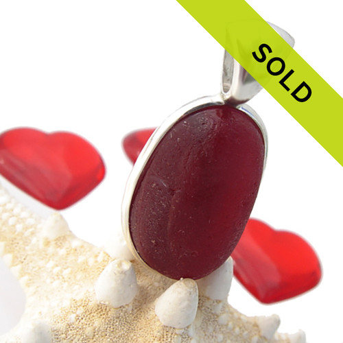 Mixed Large Red Sea Glass In Sterling Original Wire Bezel©