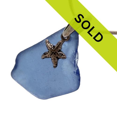 Medium Blue Sea Glass Pendant On Sterling Bail With Starfish Charm