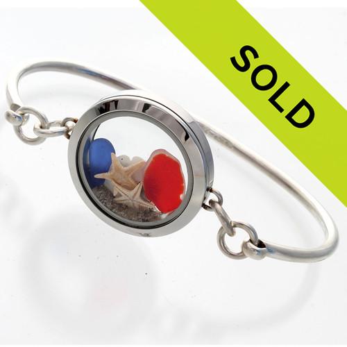 Sorry this sea glass locket bangle bracelet has sold!