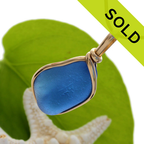 Unique and STUNNING BRIGHT Blue Genuine Sea Glass Pendant in my Original Gold Wire Bezel© A great piece of Sea Glass Jewelry for any beach lover!