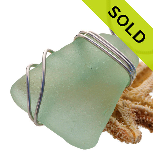 Seafoam green sea glass set in our triple sterling setting. A great pendant for any necklace! SOLD - Sorry this Rare Sea Glass Pendant is NO LONGER AVAILABLE!