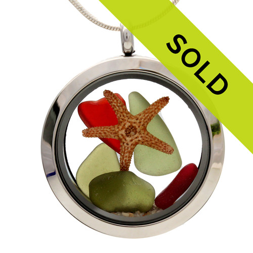 Olive green and ruby red sea glass is combined with real starfish for a holiday inspired sea glass locket. Great stocking stuffers for Christmas!  SORRY THIS LOCKET HAS SOLD!