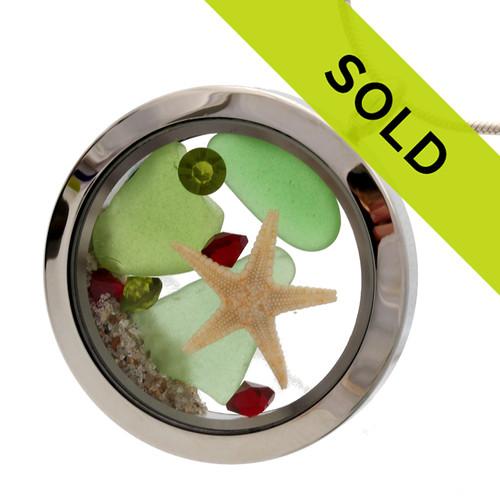 Holiday At Home -  Green Sea Glass With Starfish & Gemstone Locket