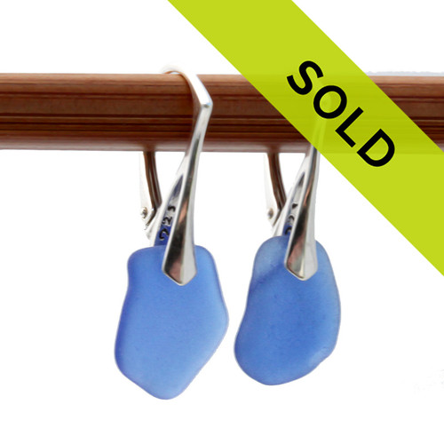 Genuine blue sea glass earrings on sterling leverbacks