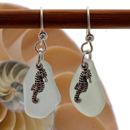 Sea Charmed - Seafoam Green Sea Glass Earrings W/ Sterling Seahorse Charms