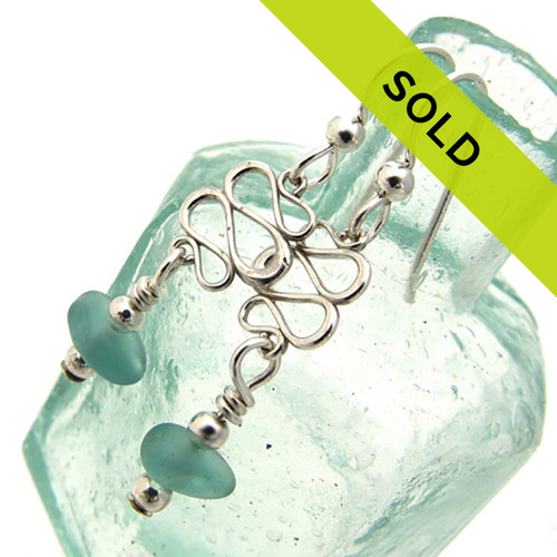 Aqua Blue Sea Glass Earrings With Squiggle Accents