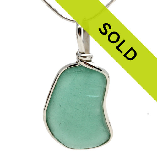 Vivid Aqua Green Sea Glass In Sterling Deluxe Wire in Bezel© Necklace Pendant  Natural UNALTERED sea glass left just the way it was found on the beach!