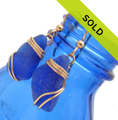 Blue Sea Glass Earrings In Triple 14K Goldfilled