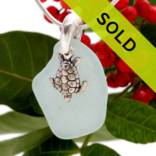 Palest Aqua Sea Glass On Sterling Bail With Sea Turtle- S/S CHAIN INCLUDED
