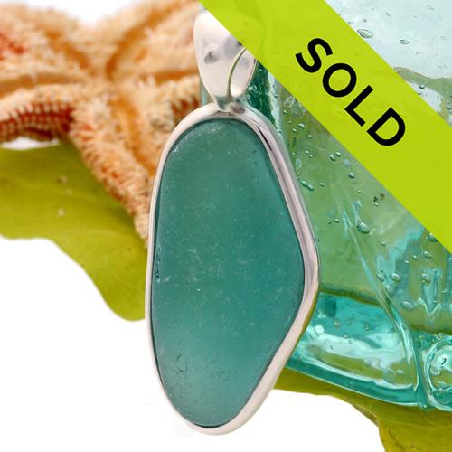 Tropical Aqua Blue Sea Glass In S/S Deluxe Wire Bezel©