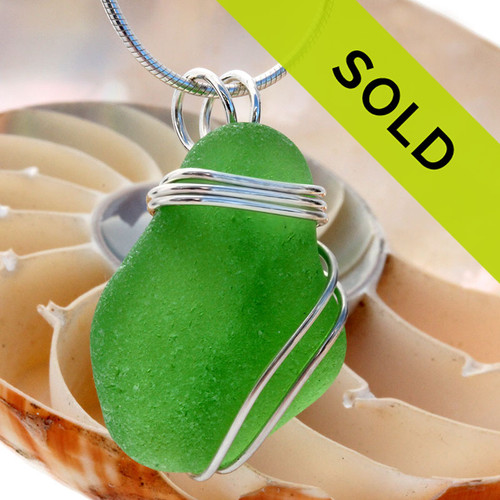 A perfect frosted piece of genuine green sea glass is set in our secure triple sterling setting. A great pendant for any necklace.