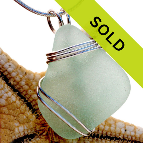 A nice seafoam green sea glass is set in our secure triple sterling setting. A great pendant for any necklace.