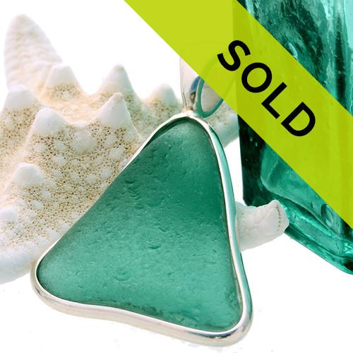 Vivid Aqua Green Certified Sea Glass In Deluxe Wire Bezel©