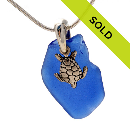 Sea Charmed - Large Blue Sea Glass On Bail W/ Seaturtle