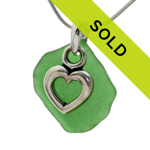 Green sea glass necklace with heart charm