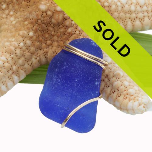 Ridged Colbalt Blue Sea Glass Pendant In Gold Basic Beach