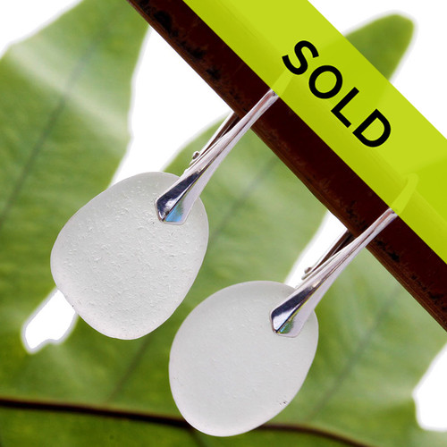 Sorry these white sea glass leverback earrings have sold!