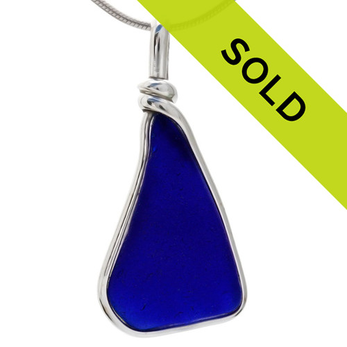 A blue sea glass pendant in our Original Wire Bezel setting. Sorry this sea glass pendant has been sold!