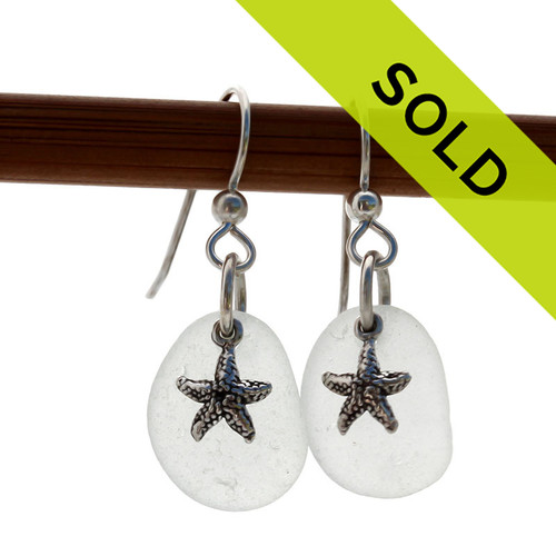 These genuine white sea glass earrings with starfish charms have sold!