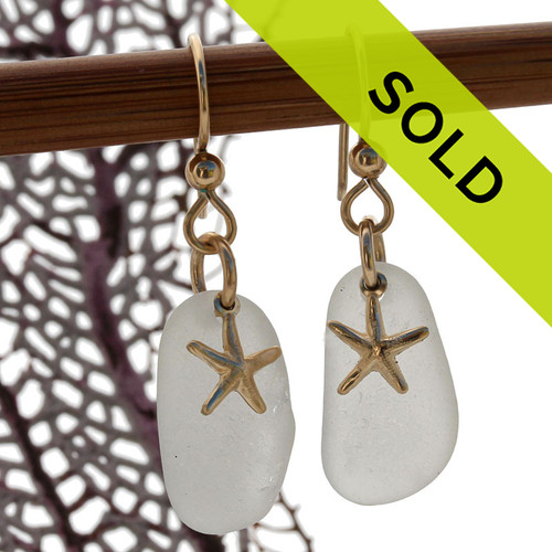 Sorry these white sea glass earrings with starfish charms have been sold!
