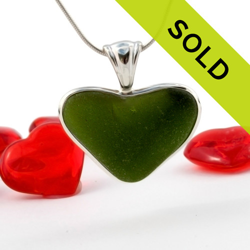 A LARGE natural deep green sea glass heart set in our Deluxe Wire Bezel© A great necklace for any time of year and perfect for any sea glass lover!