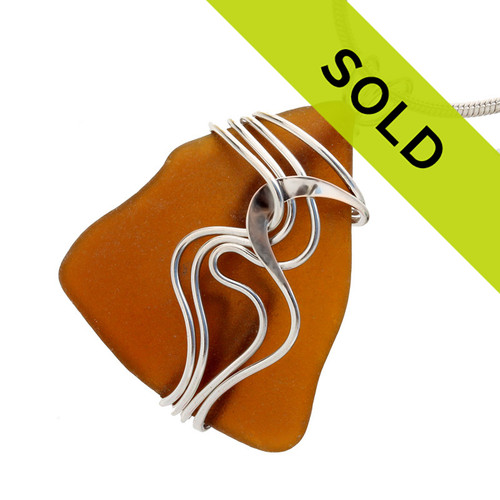 Amber Brown Genuine Sea Glass In Sterling Waves© Setting Pendant for Necklace Sorry this sea glass jewelry piece has been sold