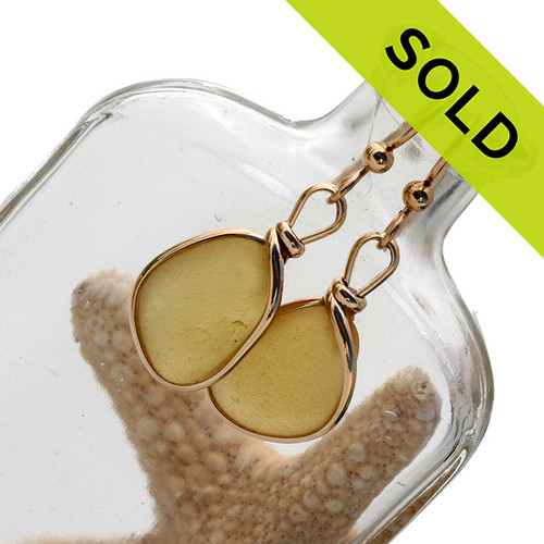 An ultra rare match of buttery yellow English sea glass piece from Seaham England in our Original Gold Wire Bezel© sea glass earring setting. SOLD - Sorry these Ultra Rare Sea Glass Earrings are NO LONGER AVAILABLE!