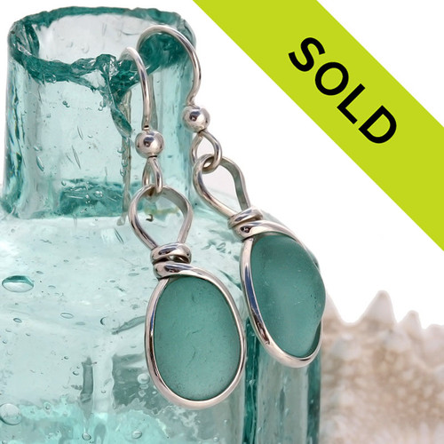 Sorry these aqua sea glass earrings have sold