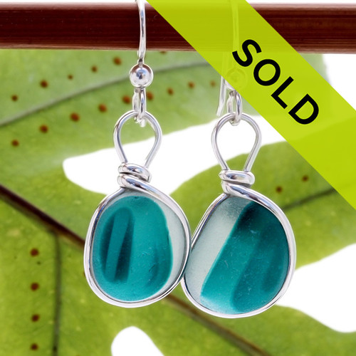 Super Ultra Rare pair of mixed teal green English End Of Day sea glass pieces in our Original Wire Bezel© earring setting.