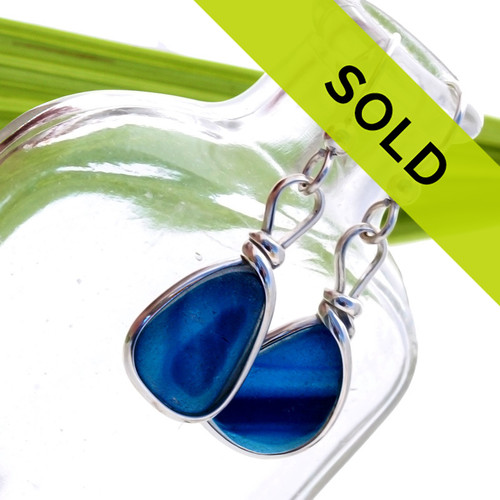 Super Ultra Rare pair of mixed blue English End Of Day sea glass pieces in our Original Wire Bezel© earring setting.