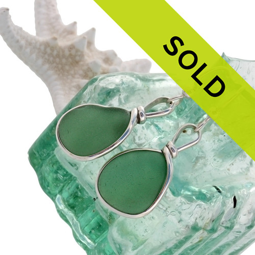 Perfect pieces of all natural genuine beach found sea glass in an unusual Aqua Green in our original Wire Bezel© Sea Glass Earring Setting.