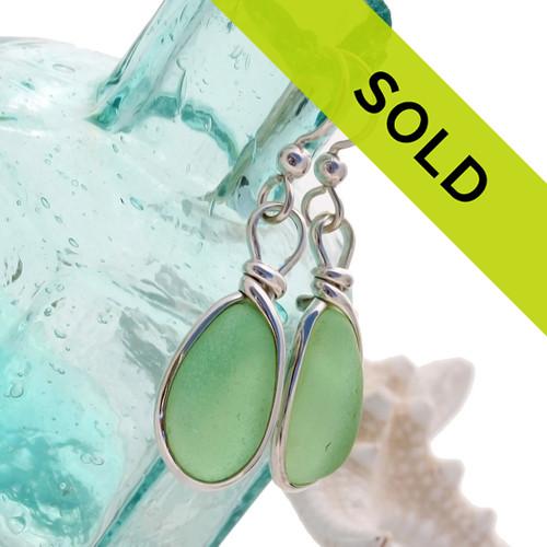 Seafoam Green Sea Glass Earings In Silver Original Wire Bezel© Setting