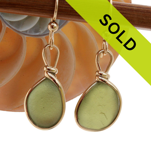 Natural Genuine UNALTERED sea glass pieces in a unusual olive green expertly wrapped in 14K Rolled Gold for a lovely classic pair of earrings