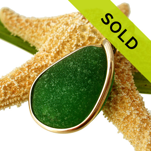 Sorry this Emerald Green Sea Glass In Gold Wire Bezel© pendant is no longer for sale!