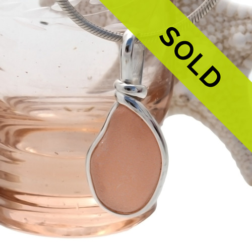 Sorry this rare peach sea glass pendant has been sold!