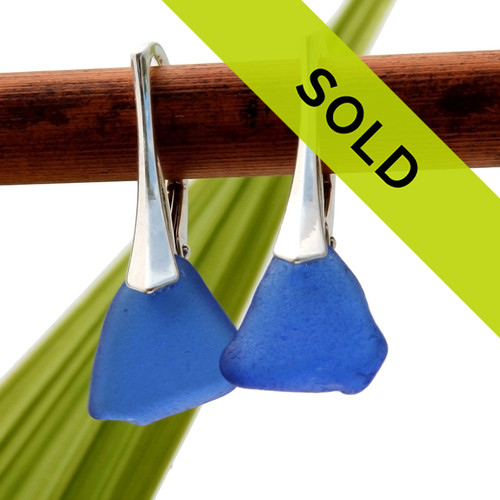 A great pair of blue sea glass lever back earrings for any sea glass lover!