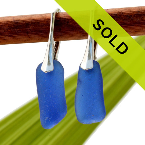 A great pair of long blue sea glass lever back earrings for any sea glass lover!