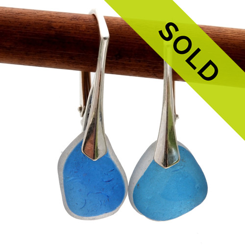 Sorry these aqua blue flashed English sea glass earrings have sold!