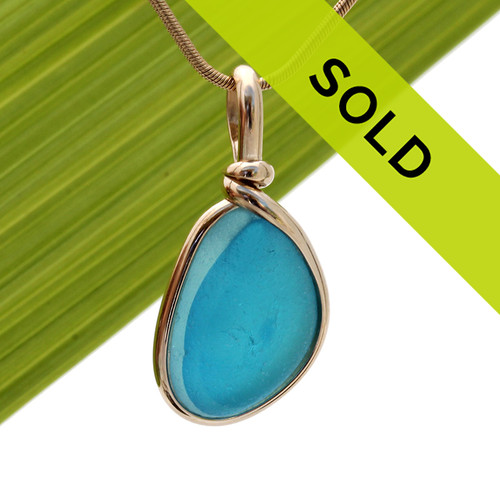 Our Original Wire Bezel© sea glass pendant setting lets all the beauty of this piece shine. A 14K Rolled Gold bezel encases the sea glass and does NOT ALTER it from the way it was found on the beach in the UK.