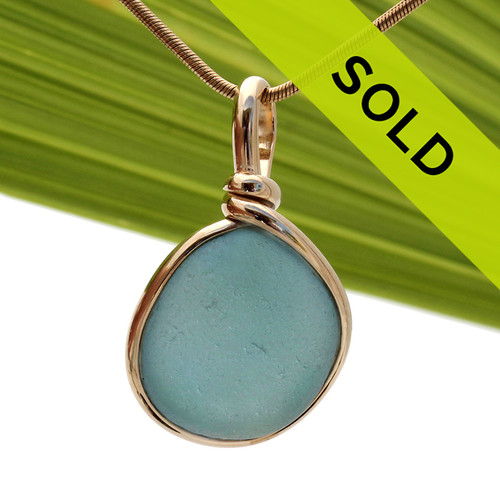 Bright Gray Blue Sea Glass In Original Gold Wire Bezel© Necklace Pendant has been sold!