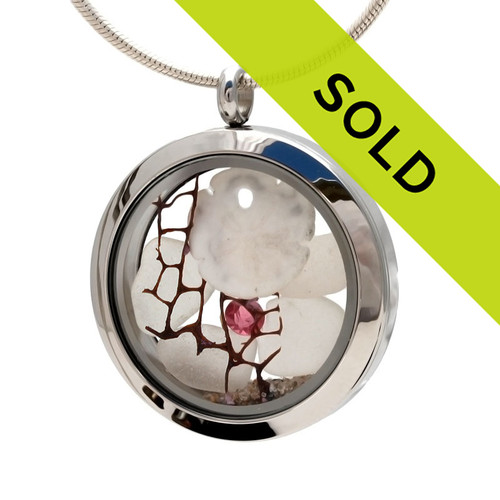 Survivor By The Sea - Genuine Sea Glass Locket With Sandollar & Pink Gemstones