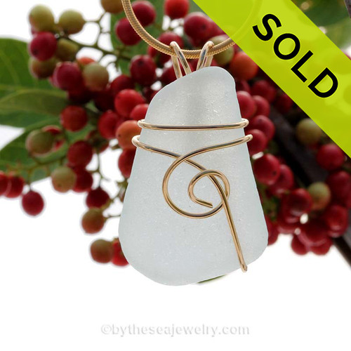 A simply set piece of vivid pure white  sea glass from North Carolina Sorry this Sea Glass Pendant has been SOLD