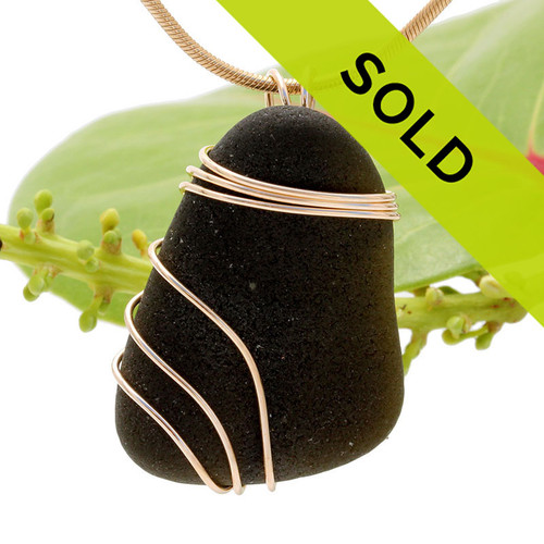 """Sorry this Black beauty a very old piece of natural """"black"""" sea glass in a triple 14K Goldfilled setting has SOLD!"""