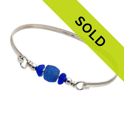 Blue Sea Glass Sterling Bangle Bracelet With Vivid Blue Recycled Glass Bead