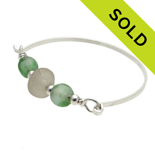 Thick White Sea Glass Sterling Bangle Bracelet With Green Beads
