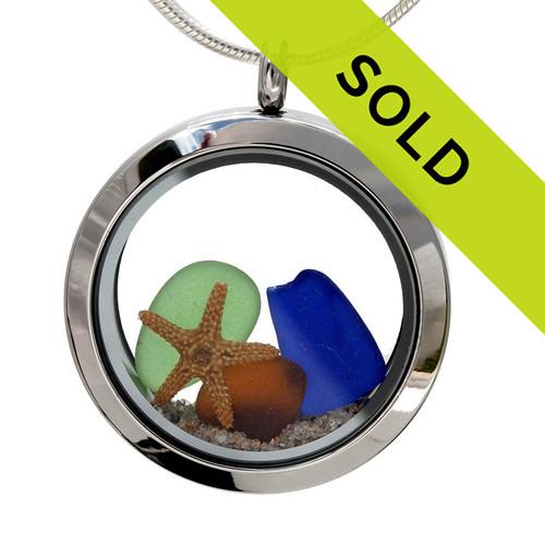 Sea Jewels -  Natural Blue, Green & Amber Sea Glass Locket With Starfish