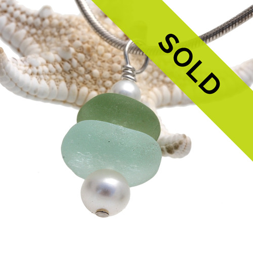 Green Sea Glass Stack with AAA Grade Cultured Pearls - Solid Stelring CHAIN INCLUDED