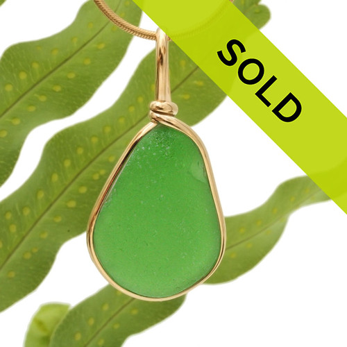 LARGE Vivid Green Sea Glass In 14K Rolled Gold Wire Bezel© Pendant