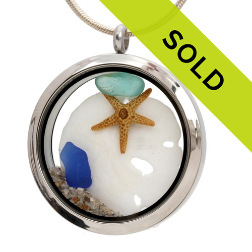 Summer Treasures- Genuine Sea Glass, Sandollar & Beach Sand - JUMBO 35MM Locket