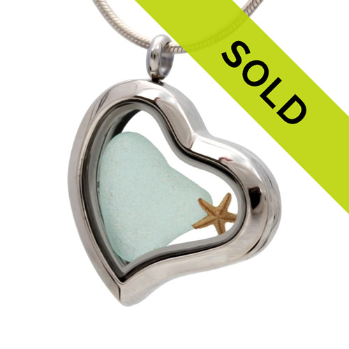 Our new heart lockets make this heart shaped aqu sea glass really shine! Genuine beach found glass.